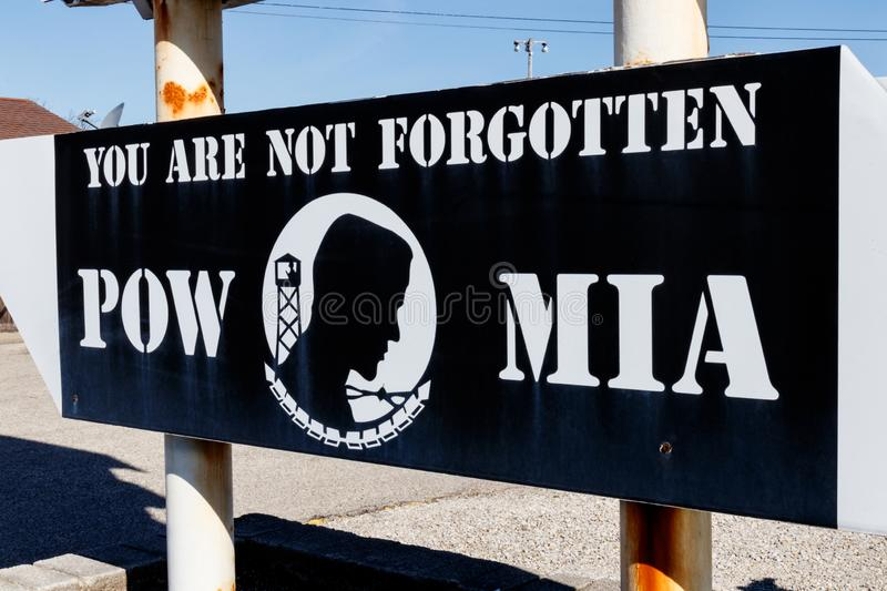 POW MIA Prisoner of War Missing in Action sign I. POW MIA Prisoner of War Missing in Action sign royalty free stock image