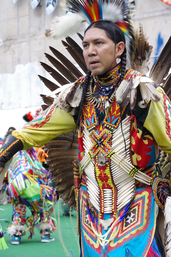 Pow-wow dancer of the plains tribes of Canada royalty free stock photos