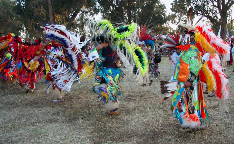 Pow Wow dancers. Men dancing at Pow Wow festival in Stanford, California stock photo