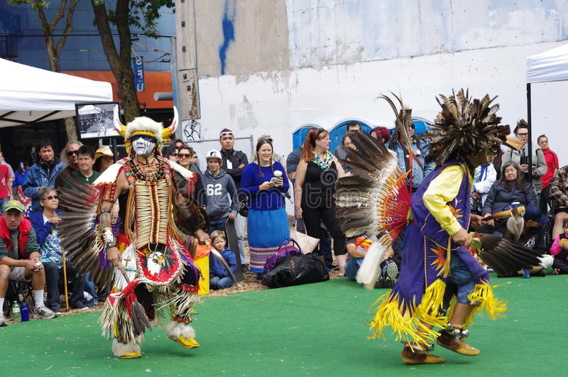 Pow-wow, first nation gathering in DTES Vancouver royalty free stock image
