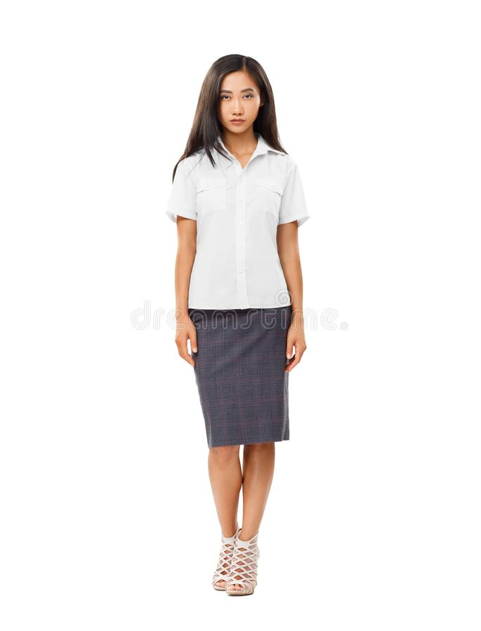 Poważna Azjatycka młoda kobieta w pełnej długości odizolowywającej na bielu zdjęcia royalty free