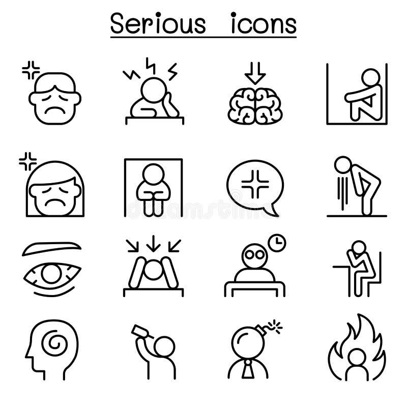 Poważna ikona ustawiająca w cienkim kreskowym stylu ilustracja wektor