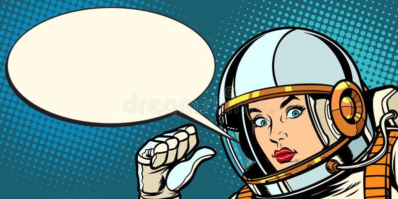 Poważni astronauta kobiety punkty przy ona ilustracja wektor