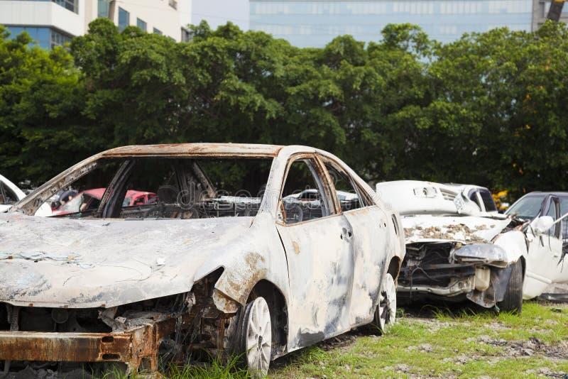 Poważni ośniedziali i unserviceable samochody w przetwarza roślinie zdjęcia royalty free