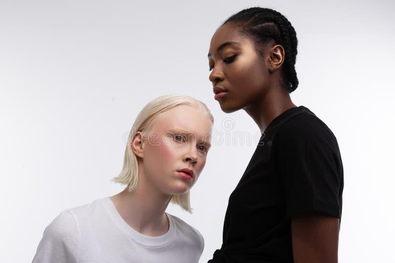 Poważni profesjonalistów modele pozuje dla rasizm organizacji fotografia stock