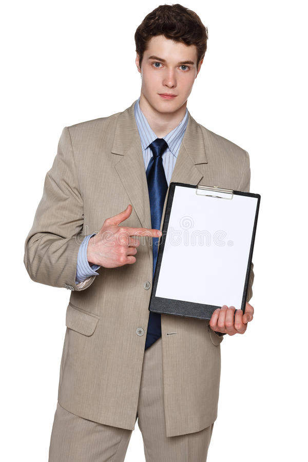 Poważny biznesmena mienia pustego miejsca whiteboard fotografia stock