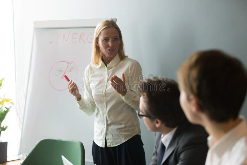 Poważny bizneswomanu mówienie daje prezentaci na flipchart fotografia stock
