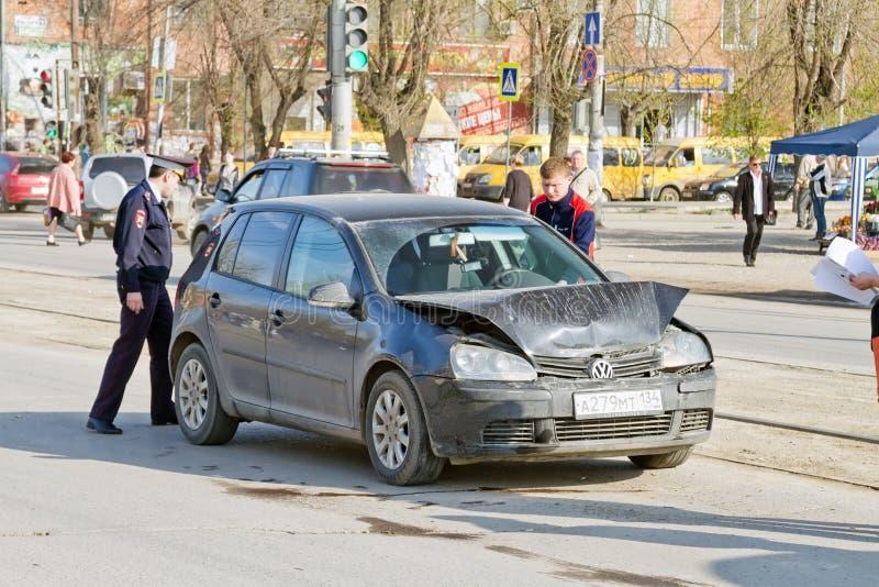 Poważny drogowy wypadek uliczny fotografia stock