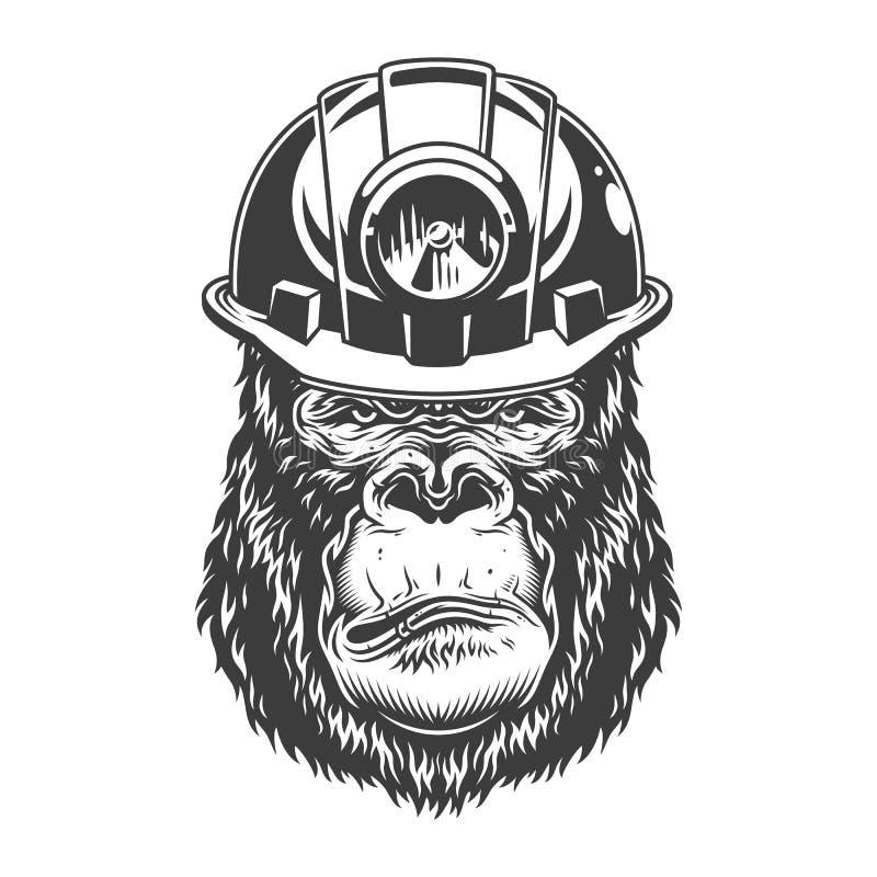 Poważny goryl w monochromu stylu
