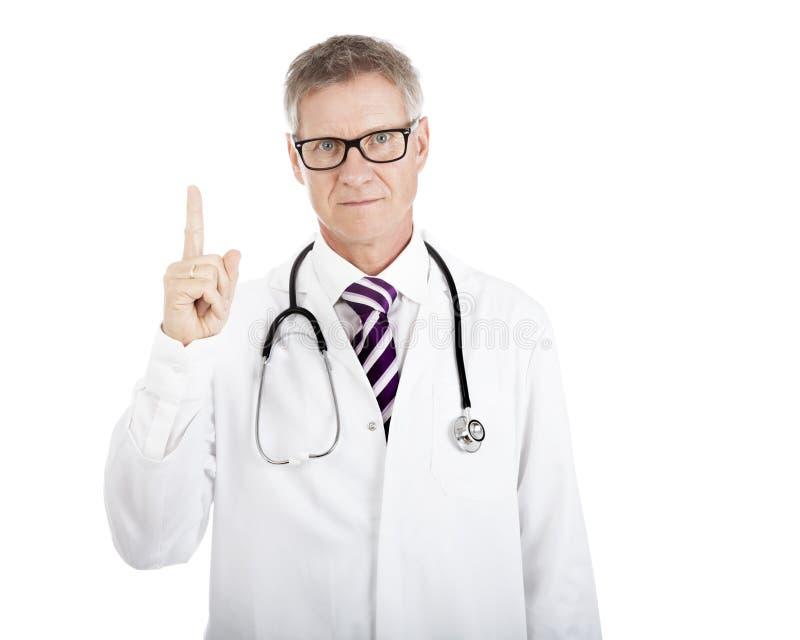 Poważny lekarza seansu liczby Jeden ręki znak obrazy stock