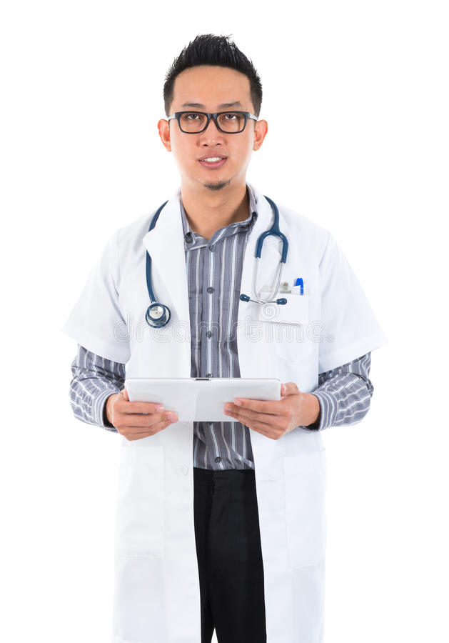 Poważny męski lekarz medycyny zdjęcie stock