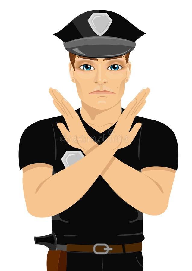 Poważny młody policjant robi znakowi kształtować z jego rękami i rękami X ilustracji