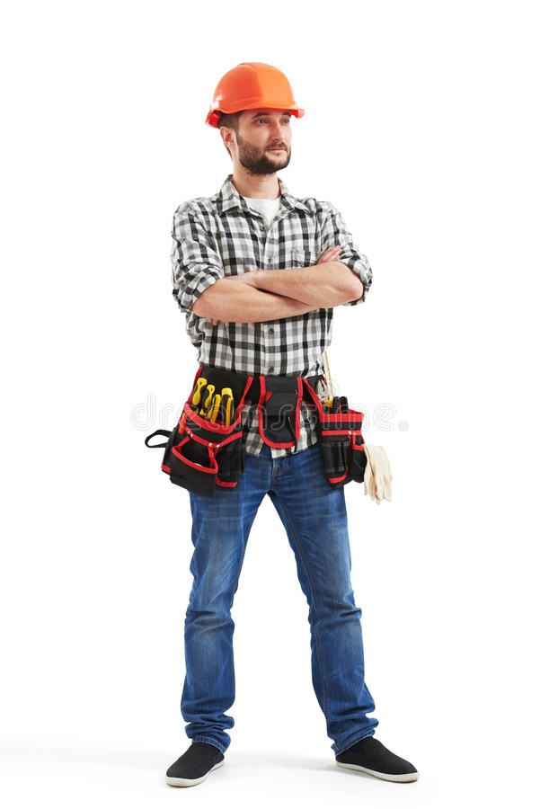 Poważny robociarz z narzędziami obraz stock