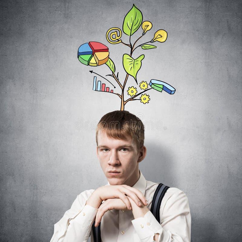 Poważny uczeń dotyka jego podbródek z rękami ilustracja wektor