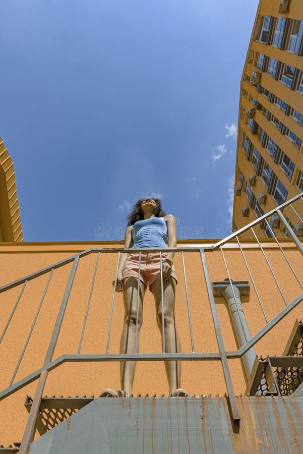 Powabna brunetki dziewczyny pozycja na schodkach pod pięknym niebem fotografia stock