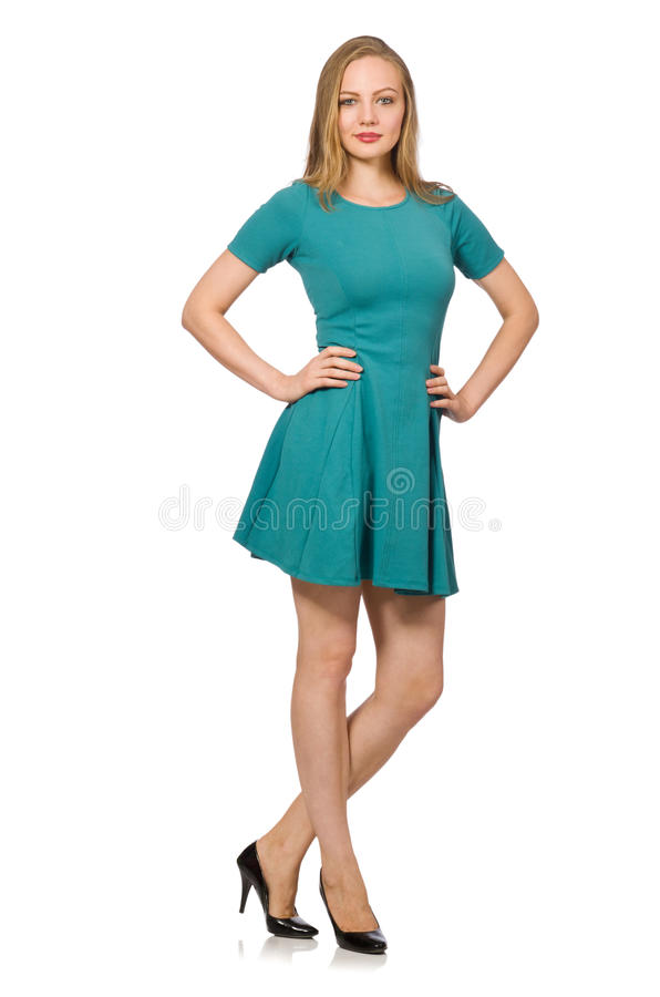 Powabna caucasian kobieta jest ubranym zieleni suknię zdjęcie royalty free