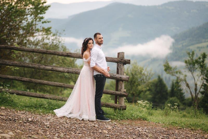 Powabna panna młoda ściska jej przystojnego fornala w górach Piękny ślub pary spacer Zielony gackground fotografia royalty free