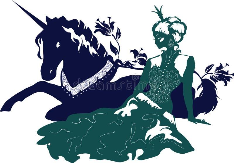 Powabna princess sylwetka z pięknym włosy, koroną i kwiecistymi wzorami z jednorożec, ilustracji