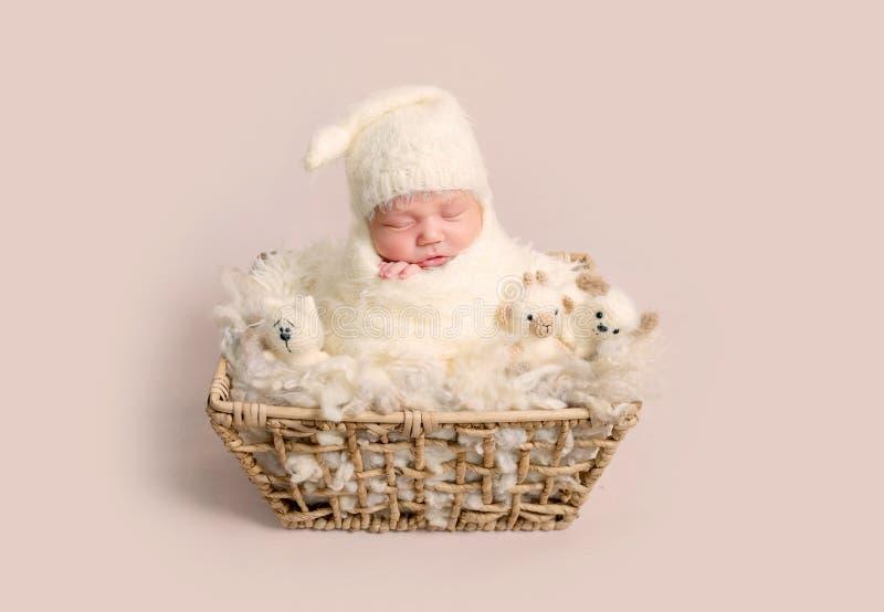 Powabny nowonarodzony dziecko śpi szczęśliwie z pyzatymi policzkami fotografia royalty free