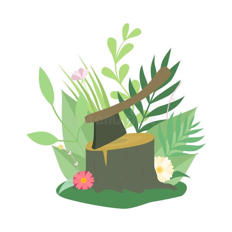 Powalać Ax i, wylesienie, Ekologiczna Problemowa Wektorowa ilustracja ilustracji