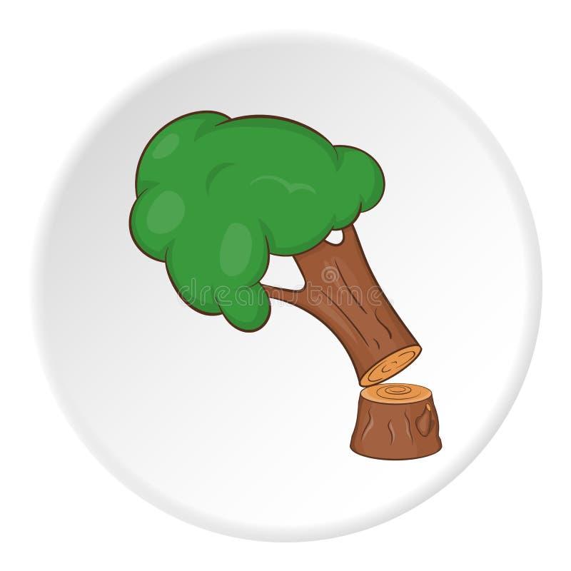 Powalać drzewna ikona, kreskówka styl ilustracja wektor