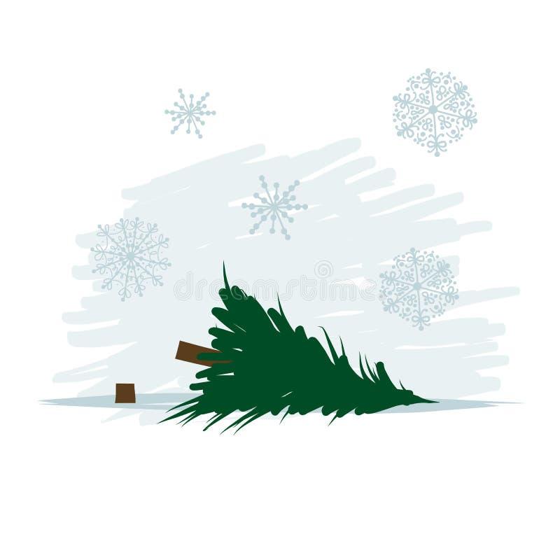 Powalać drzewo w lesie, wektorowa ilustracja royalty ilustracja