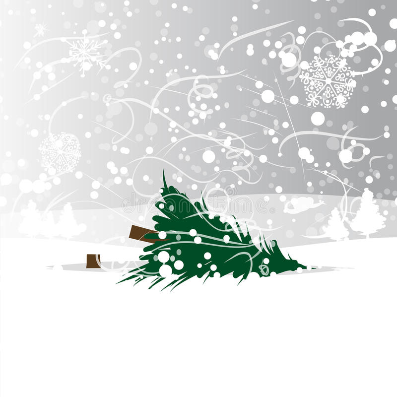 Powalać drzewo w lesie, wektorowa ilustracja ilustracji