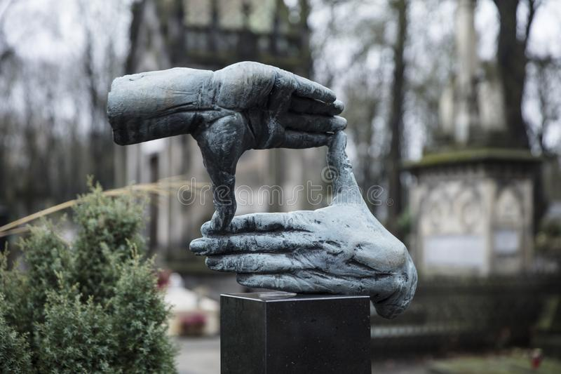 Powazki Cemetery, Warsaw, Poland, Europe, December 2018, Grave of film director Krzysztof Kieslowski. Powazki Cemetery, Warsaw, Poland, Europe, December 2018 stock photo