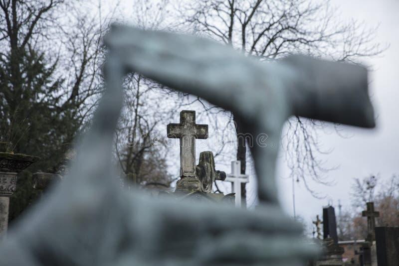 Powazki Cemetery, Warsaw, Poland, Europe, December 2018, Grave of film director Krzysztof Kieslowski. Powazki Cemetery, Warsaw, Poland, Europe, December 2018 royalty free stock photography