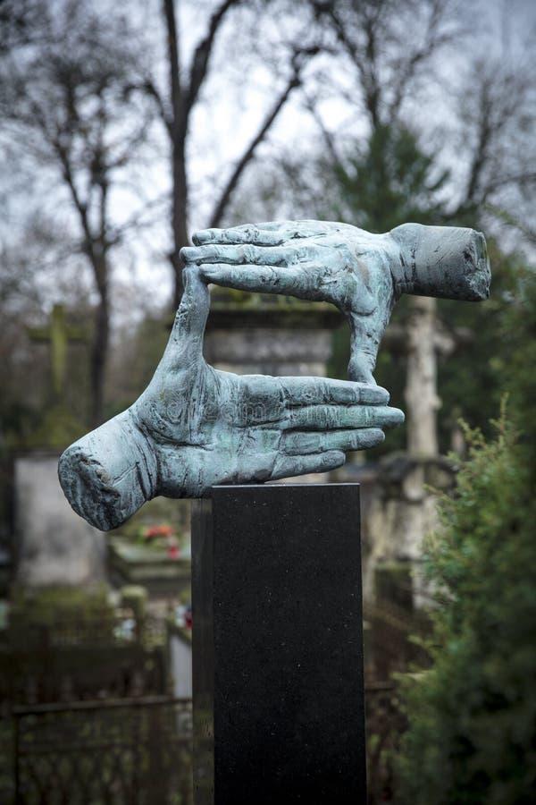 Powazki Cemetery, Warsaw, Poland, Europe, December 2018, Grave of film director Krzysztof Kieslowski. Powazki Cemetery, Warsaw, Poland, Europe, December 2018 stock photography
