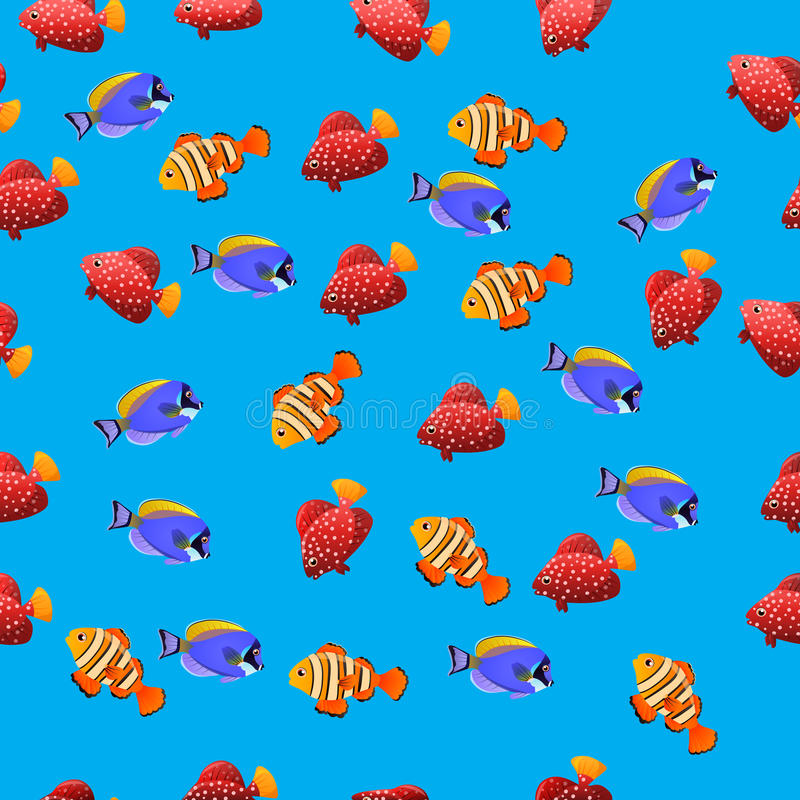 Powder Blue Tang fish. Very high quality original trendy vector seamless pattern with Powder Blue Tang fish vector illustration