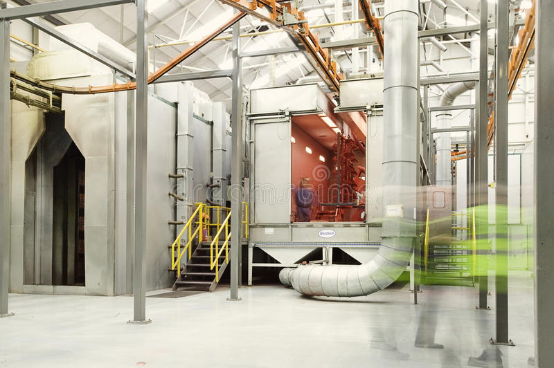 Powder coat. Paint plant in a factory stock images