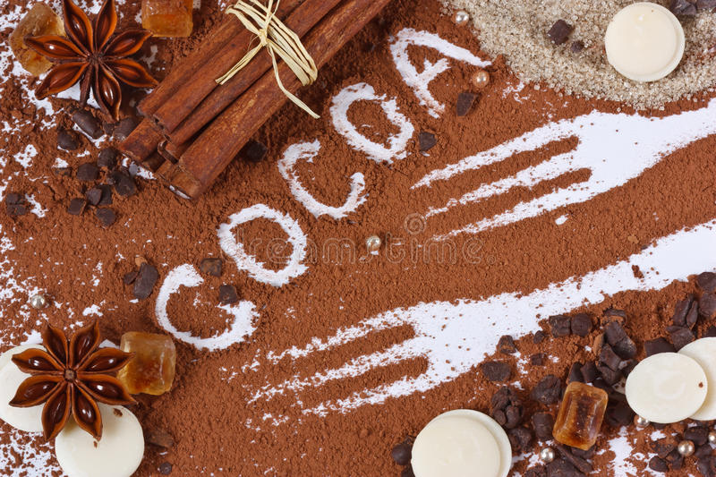 Powder of cocoa. Powder of cocoa, chocolate, spices and sugar for a holiday pie royalty free stock image