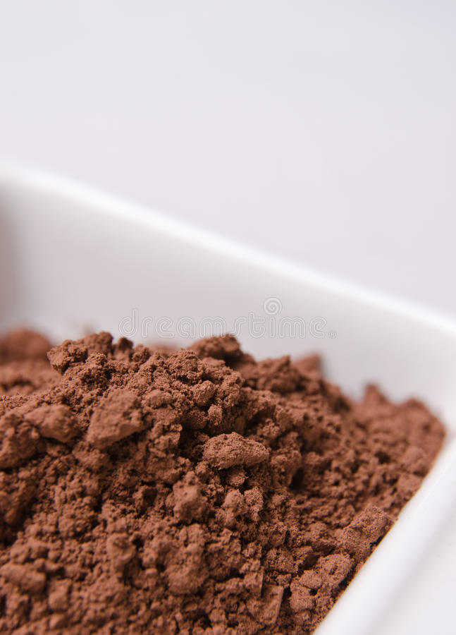 Powder cocoa. Fresh and aromatic powder cocoa in a white bowl royalty free stock photos