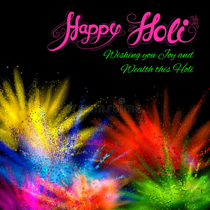 Powder color explosion for Happy Holi Background. Illustration of colorful gulal (powder color) explosion for Happy Holi Background stock illustration