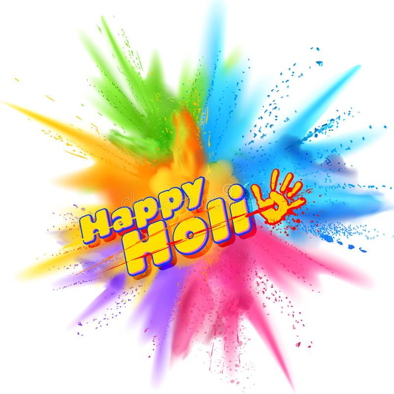 Powder color explosion for Happy Holi Background. Illustration of colorful gulal powder color explosion for Happy Holi Background stock illustration