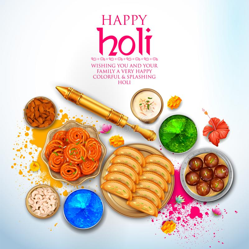 Powder color gulal and gujiya sweet with thandai for Happy Holi Background. Illustration of colorful gulal powder color and gujiya sweet with thandai for Happy stock illustration
