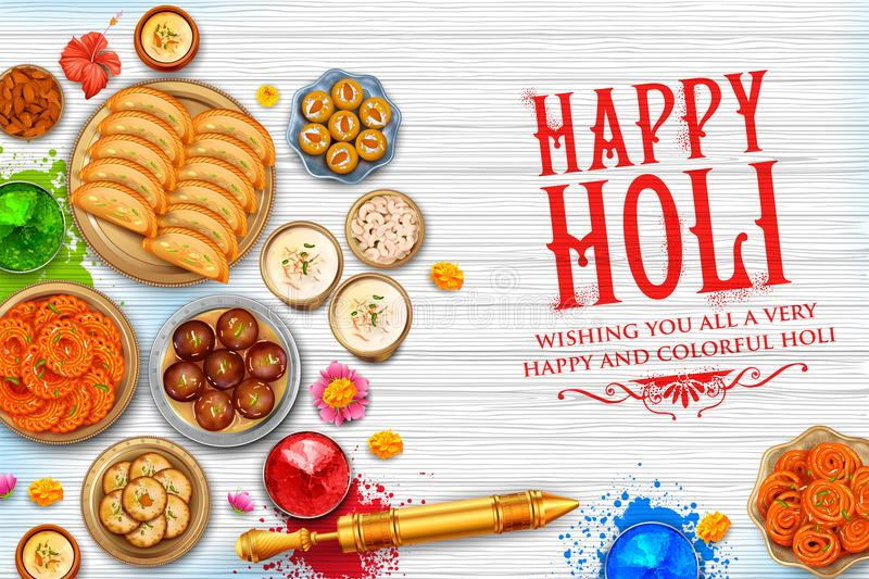 Powder color gulal and gujiya sweet with thandai for Happy Holi Background. Illustration of colorful gulal powder color and gujiya sweet with thandai for Happy vector illustration