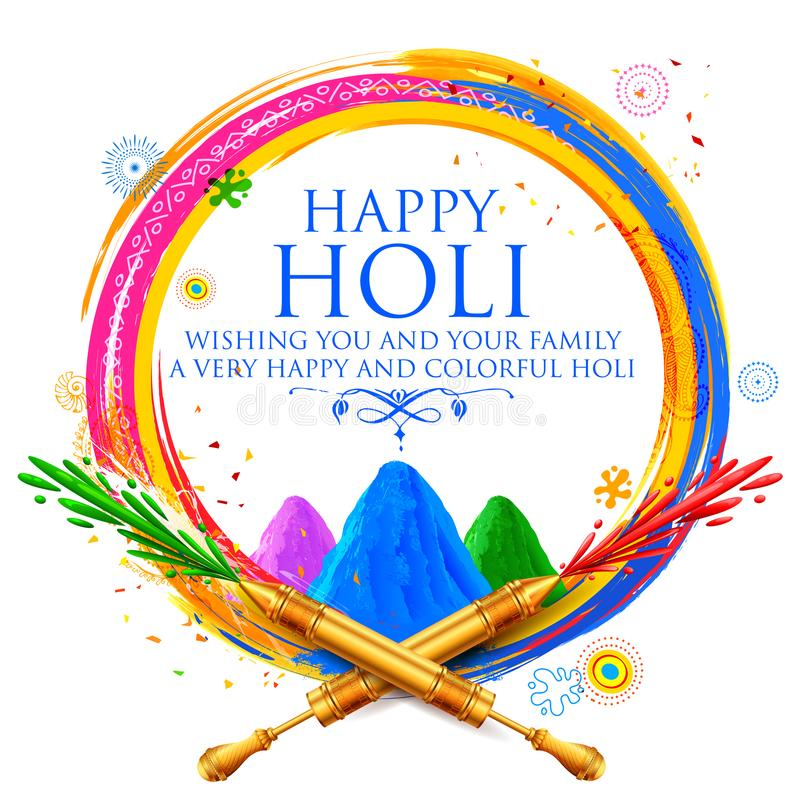 Powder color gulal for Happy Holi Background. Illustration of colorful gulal powder color and pichkari for Happy Holi Background royalty free illustration