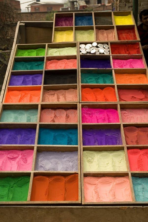 Powder dyes , Nepal. royalty free stock photo