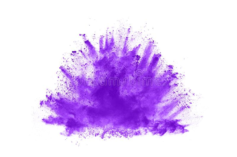 Closeup of a purple dust particle explosion isolated on white background. Powder explosion. Closeup of a purple dust particle explosion isolated on white royalty free stock image