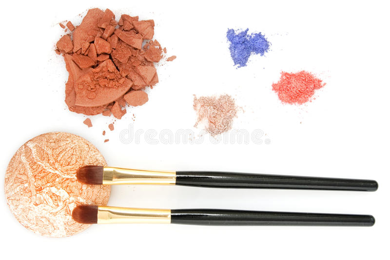 Powder for makeup and two brush royalty free stock photography