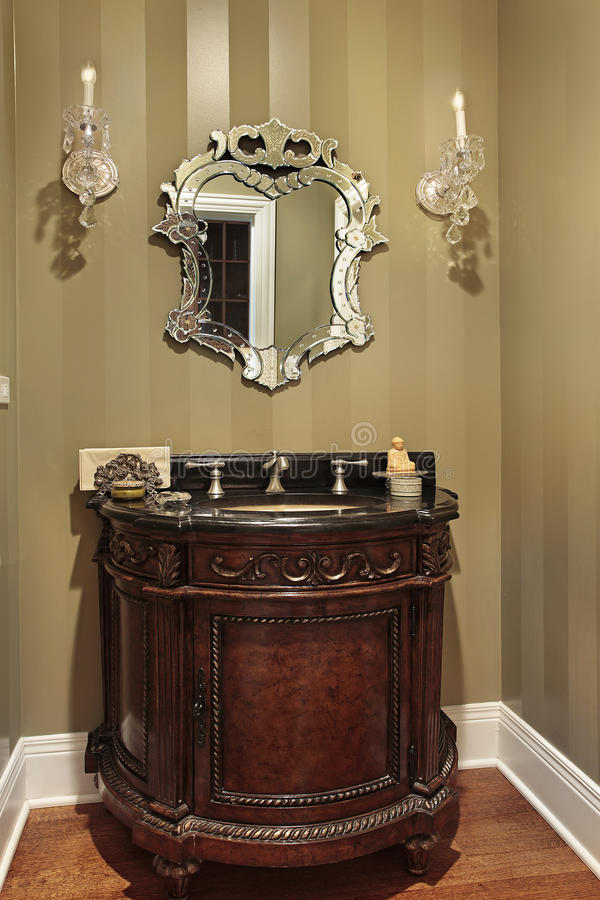 Powder room with oval sink stock photos
