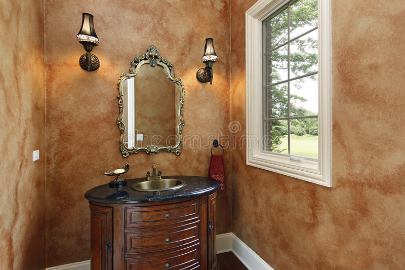 Powder room with oval sink royalty free stock photo