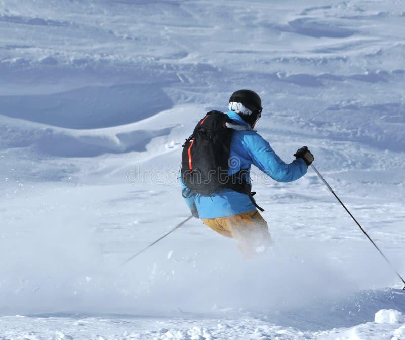 Powder skiing stock photography