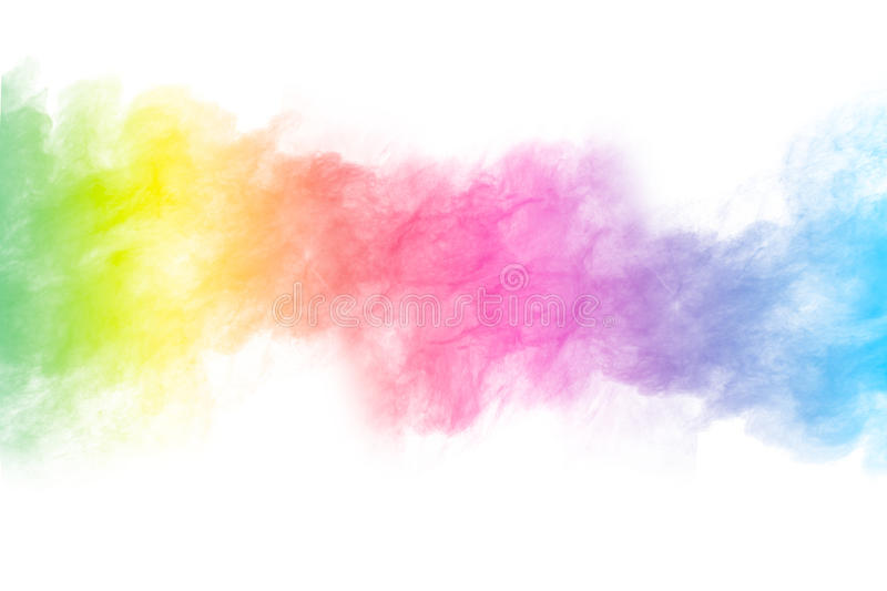 Powder splatted. Abstract color powder splatted on white background,Freeze motion of color powder explosion stock photography