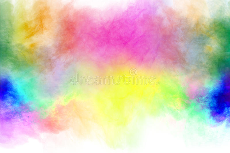 Powder splatted. Abstract color powder splatted on white background,Freeze motion of color powder explosion stock photos