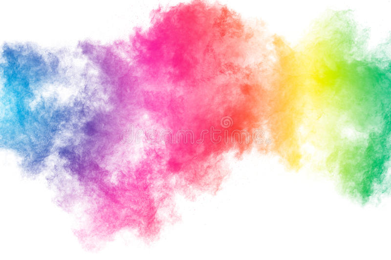 Powder splatted. Abstract color powder splatted on white background,Freeze motion of color powder explosion royalty free stock photo