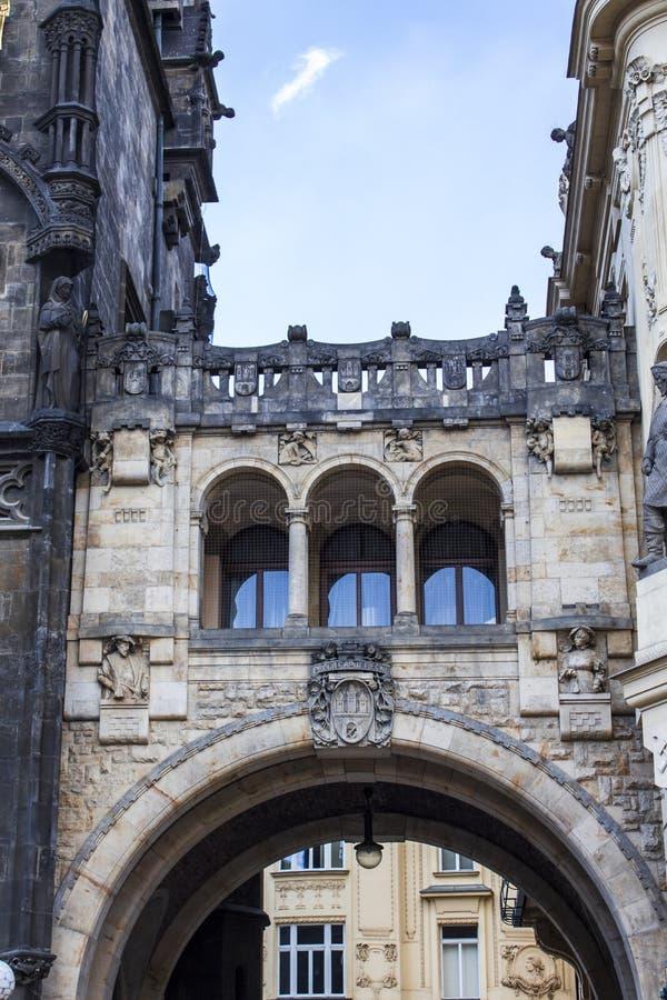 Powder Tower in Prague. Powder gates in Prague. Covered bridge in Prague. Prague architecture stock image