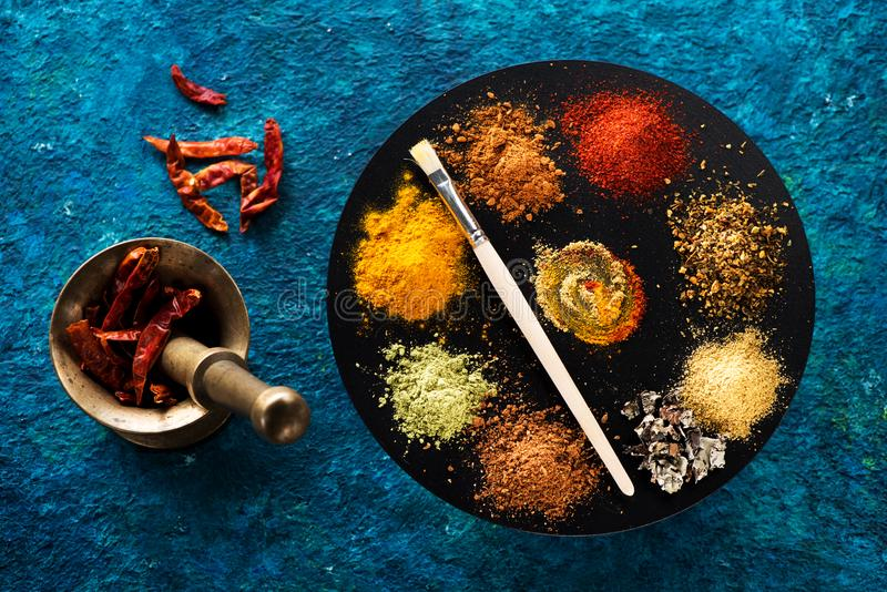 Powder of various spices and seasonings stock image